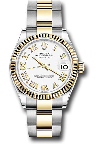 Rolex Steel and Yellow Gold Datejust 31 Watch - Fluted Bezel - White Roman Dial - Oyster Bracelet