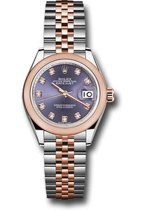 Rolex Steel and Everose Gold Datejust 28 Watch - Domed Bezel - Aubergine Diamond Dial - Jubilee Bracelet