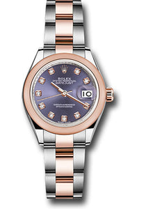 Rolex Steel and Everose Gold Rolesor Lady-Datejust 28 Watch - Domed Bezel - Aubergine Diamond Dial - Oyster Bracelet