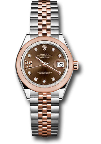 Rolex Steel and Everose Gold Datejust 28 Watch - Domed Bezel - Chocolate Diamond Star Dial - Jubilee Bracelet