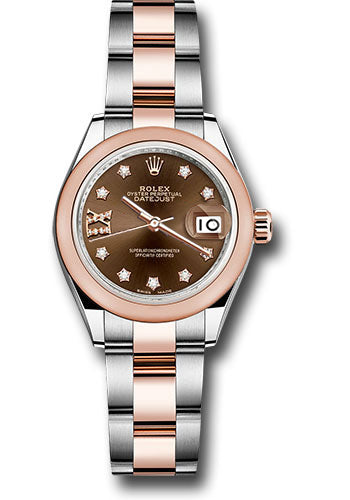 Rolex Steel and Everose Gold Rolesor Lady-Datejust 28 Watch - Domed Bezel - Chocolate Diamond Star Dial - Oyster Bracelet