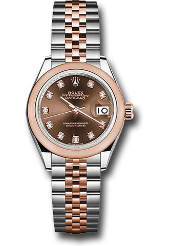 Rolex Steel and Everose Gold Datejust 28 Watch - Domed Bezel - Chocolate Diamond Dial - Jubilee Bracelet