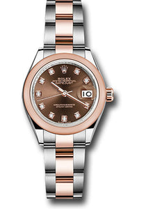 Rolex Steel and Everose Gold Rolesor Lady-Datejust 28 Watch - Domed Bezel - Chocolate Diamond Dial - Oyster Bracelet
