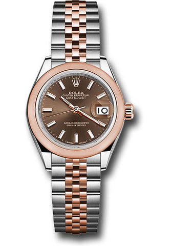 Rolex Steel and Everose Gold Datejust 28 Watch - Domed Bezel - Chocolate Index Dial - Jubilee Bracelet