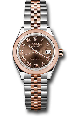 Rolex Steel and Everose Gold Datejust 28 Watch - Domed Bezel - Chocolate Roman Dial - Jubilee Bracelet