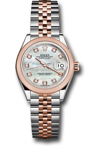 Rolex Steel and Everose Gold Datejust 28 Watch - Domed Bezel - White Mother of Pearl Diamond Dial - Jubilee Bracelet