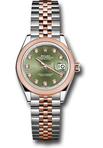 Rolex Steel and Everose Gold Datejust 28 Watch - Domed Bezel - Olive Green Diamond Dial - Jubilee Bracelet