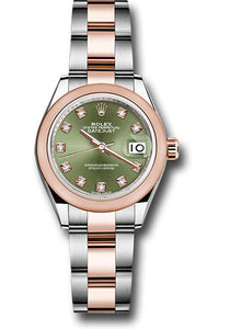 Rolex Steel and Everose Gold Rolesor Lady-Datejust 28 Watch - Domed Bezel - Olive Green Diamond Dial - Oyster Bracelet