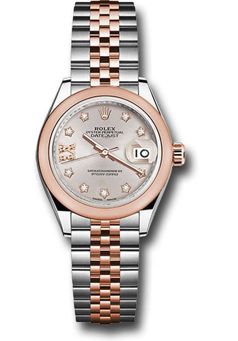 Rolex Steel and Everose Gold Datejust 28 Watch - Domed Bezel - Sundust Diamond Star Dial - Jubilee Bracelet