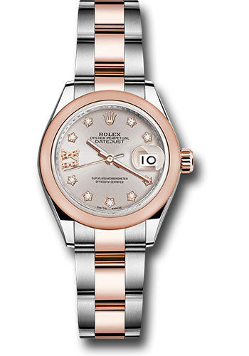 Rolex Steel and Everose Gold Rolesor Lady-Datejust 28 Watch - Domed Bezel - Sundust Diamond Star Dial - Oyster Bracelet