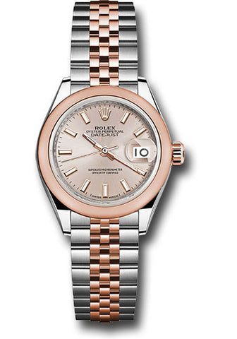 Rolex Steel and Everose Gold Datejust 28 Watch - Domed Bezel - Sundust Index Dial - Jubilee Bracelet