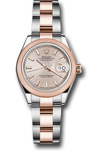 Rolex Steel and Everose Gold Rolesor Lady-Datejust 28 Watch - Domed Bezel - Sundust Index Dial - Oyster Bracelet