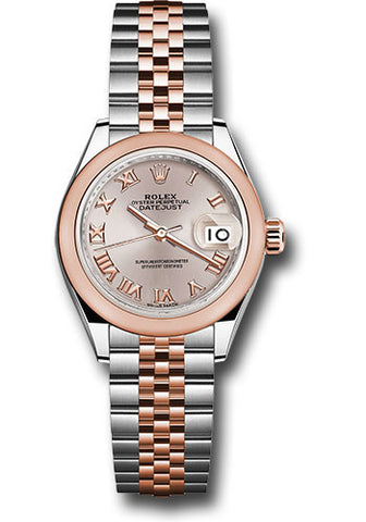 Rolex Steel and Everose Gold Datejust 28 Watch - Domed Bezel - Sundust Roman Dial - Jubilee Bracelet