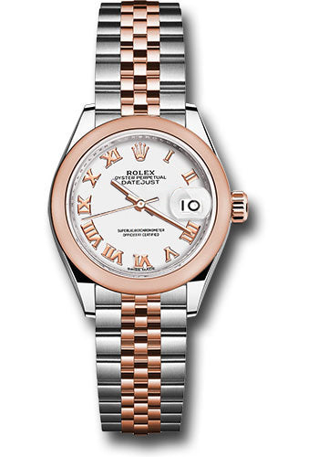 Rolex Steel and Everose Gold Datejust 28 Watch - Domed Bezel - White Roman Dial - Jubilee Bracelet