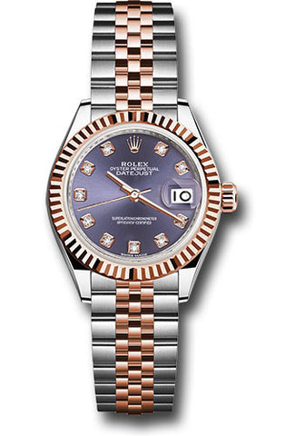 Rolex Steel and Everose Gold Datejust 28 Watch - Fluted Bezel - Aubergine Diamond Dial - Jubilee Bracelet
