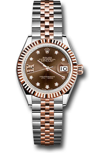 Rolex Steel and Everose Gold Datejust 28 Watch - Fluted Bezel - Chocolate Diamond Star Dial - Jubilee Bracelet