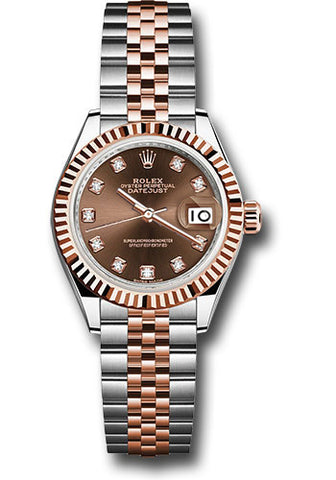 Rolex Steel and Everose Gold Datejust 28 Watch - Fluted Bezel - Chocolate Diamond Dial - Jubilee Bracelet
