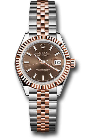 Rolex Steel and Everose Gold Datejust 28 Watch - Fluted Bezel - Chocolate Index Dial - Jubilee Bracelet