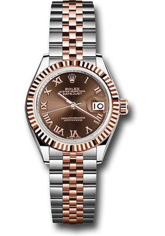 Rolex Steel and Everose Gold Datejust 28 Watch - Fluted Bezel - Chocolate Roman Dial - Jubilee Bracelet