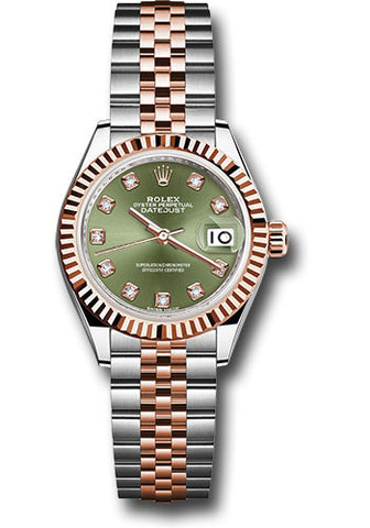 Rolex Steel and Everose Gold Datejust 28 Watch - Fluted Bezel - Olive Green Diamond Dial - Jubilee Bracelet