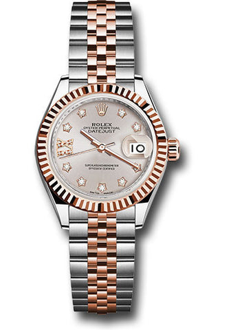Rolex Steel and Everose Gold Datejust 28 Watch - Fluted Bezel - Sundust Diamond Star Dial - Jubilee Bracelet