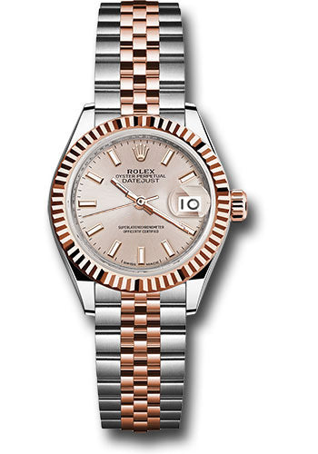 Rolex Steel and Everose Gold Datejust 28 Watch - Fluted Bezel - Sundust Index Dial - Jubilee Bracelet