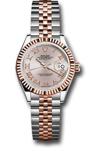 Rolex Steel and Everose Gold Datejust 28 Watch - Fluted Bezel - Sundust Roman Dial - Jubilee Bracelet
