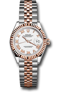 Rolex Steel and Everose Gold Datejust 28 Watch - Fluted Bezel - White Roman Dial - Jubilee Bracelet