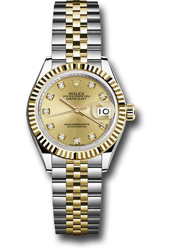Rolex Steel and Yellow Gold Datejust 28 Watch - Fluted Bezel - Champagne Diamond Dial - Jubilee Bracelet