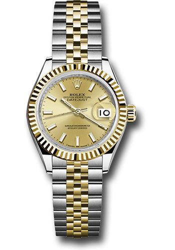 Rolex Steel and Yellow Gold Datejust 28 Watch - Fluted Bezel - Champagne Index Dial - Jubilee Bracelet