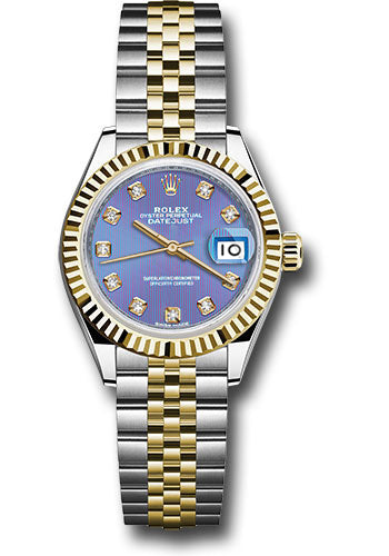 Rolex Steel and Yellow Gold Datejust 28 Watch - Fluted Bezel - Lavender Diamond  Dial - Jubilee Bracelet