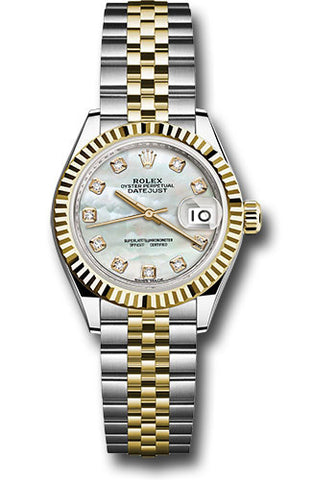Rolex Steel and Yellow Gold Datejust 28 Watch - Fluted Bezel - White Mother of Pearl Diamond Dial - Jubilee Bracelet