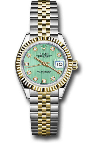 Rolex Steel and Yellow Gold Datejust 28 Watch - Fluted Bezel - Mint Green Diamond  Dial - Jubilee Bracelet