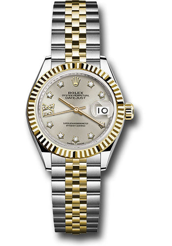 Rolex Steel and Yellow Gold Datejust 28 Watch - Fluted Bezel - Silver Diamond  Star Dial - Jubilee Bracelet