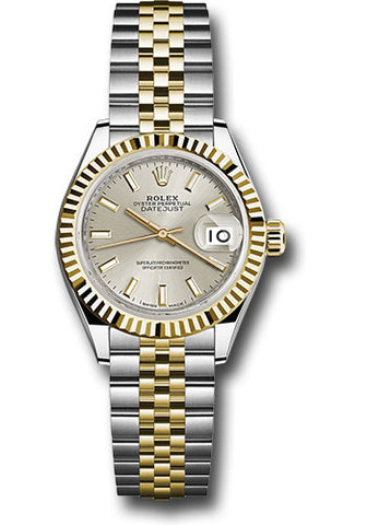 Rolex Steel and Yellow Gold Datejust 28 Watch - Fluted Bezel - Silver Index Dial - Jubilee Bracelet