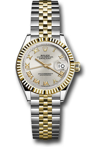 Rolex Steel and Yellow Gold Datejust 28 Watch - Fluted Bezel - Silver Roman Dial - Jubilee Bracelet