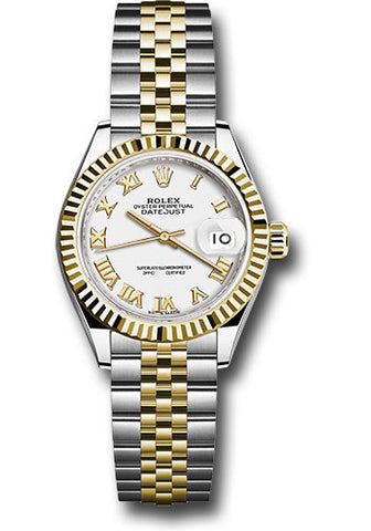 Rolex Steel and Yellow Gold Datejust 28 Watch - Fluted Bezel - White Roman Dial - Jubilee Bracelet
