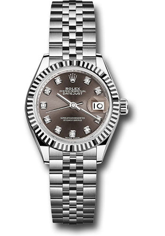 Rolex Steel and White Gold Datejust 28 Watch - Fluted Bezel - Dark Grey Diamond Dial - Jubilee Bracelet
