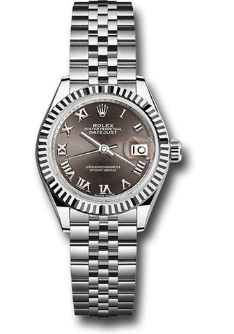 Rolex Steel and White Gold Datejust 28 Watch - Fluted Bezel - Dark Grey Roman Dial - Jubilee Bracelet