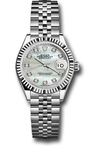 Rolex Steel and White Gold Datejust 28 Watch - Fluted Bezel - White Mother of Pearl Diamond Dial - Jubilee Bracelet