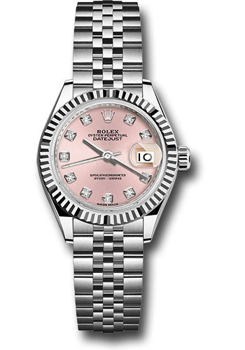 Rolex Steel and White Gold Datejust 28 Watch - Fluted Bezel - Pink Diamond Dial - Jubilee Bracelet
