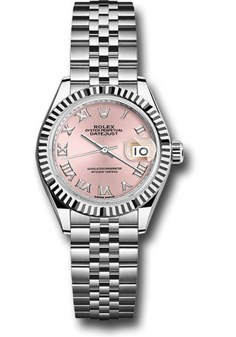 Rolex Steel and White Gold Datejust 28 Watch - Fluted Bezel - Pink Roman Dial - Jubilee Bracelet