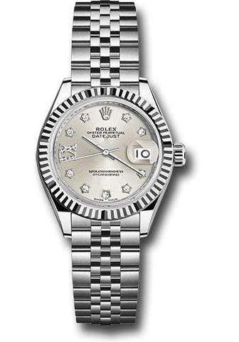 Rolex Steel and White Gold Datejust 28 Watch - Fluted Bezel - Silver Diamond Star Dial - Jubilee Bracelet