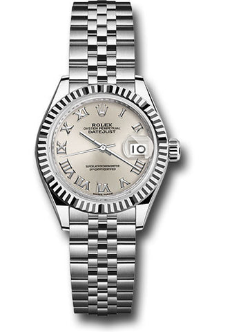 Rolex Steel and White Gold Datejust 28 Watch - Fluted Bezel - Silver Roman Dial - Jubilee Bracelet