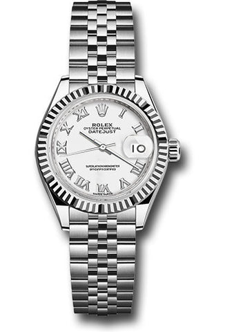 Rolex Steel and White Gold Datejust 28 Watch - Fluted Bezel - White Roman Dial - Jubilee Bracelet