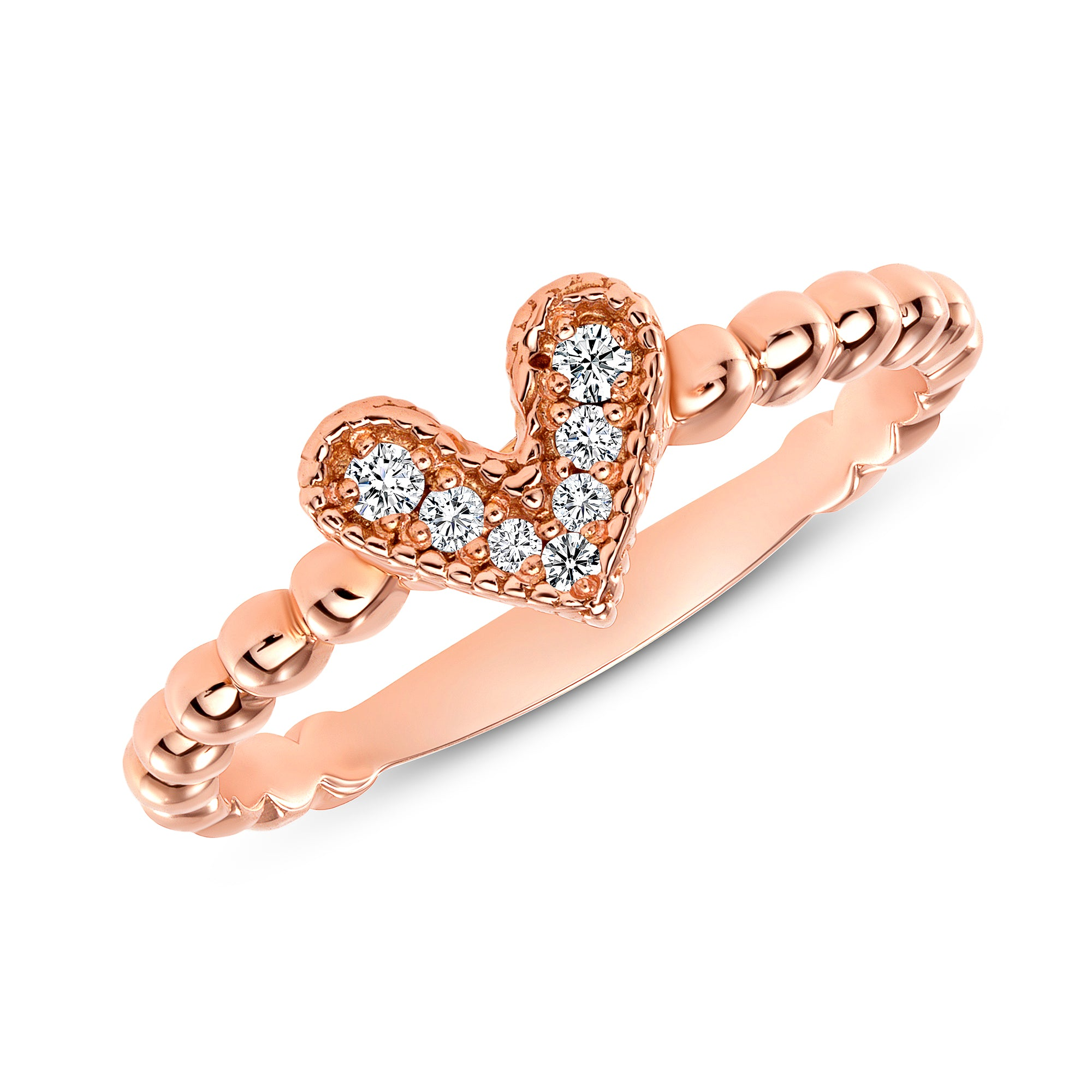 14K Rose Gold  Diamond Heart Ring