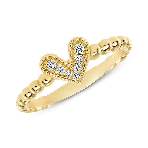 14K White Gold Diamond Heart Ring