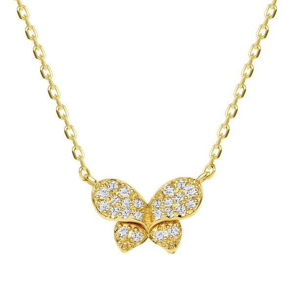 14K Yellow Gold Diamond Butterfly Necklace
