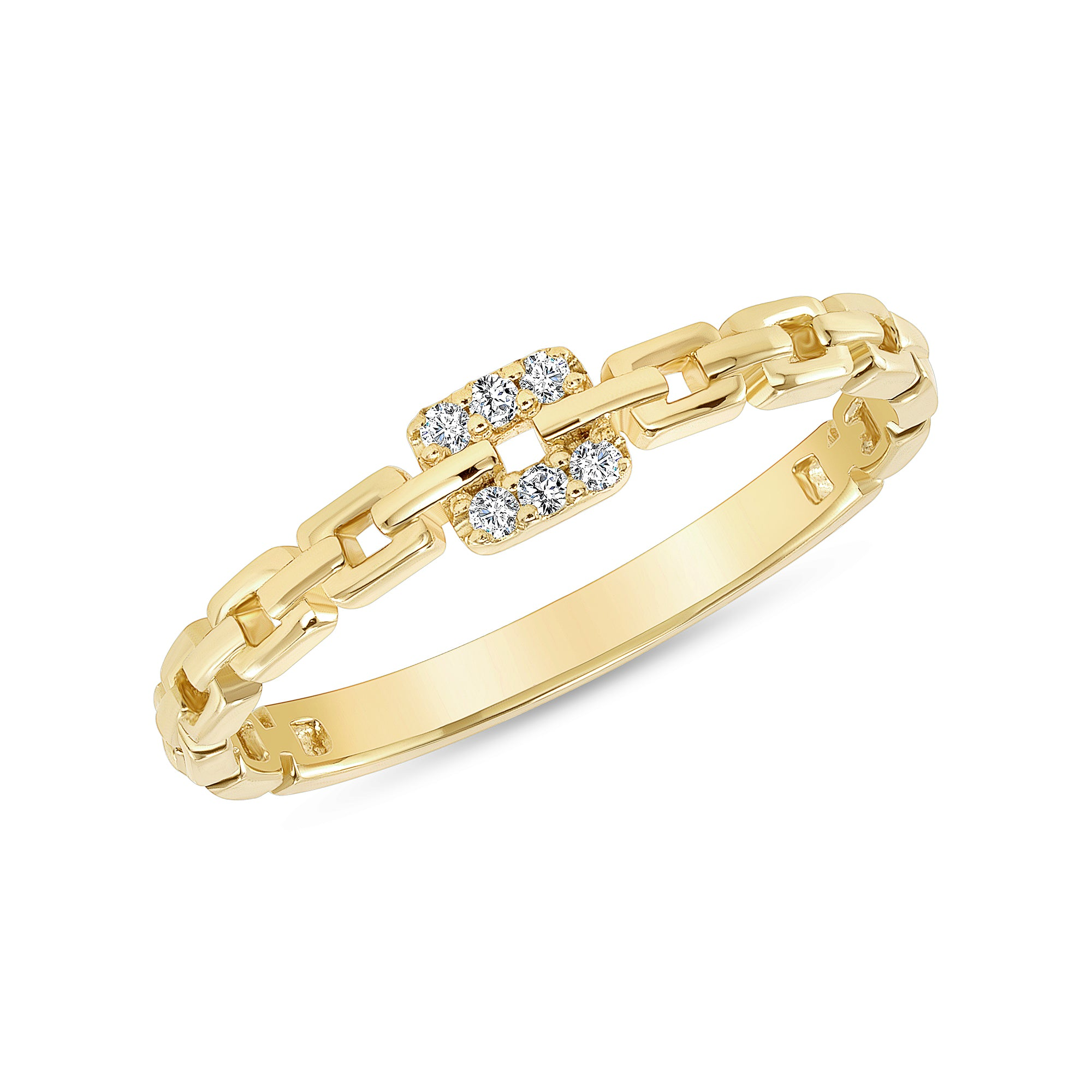 14K Yellow Gold Square Link Ring
