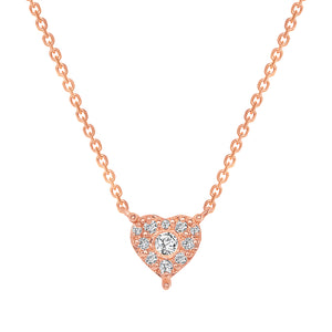14K Rose Gold Diamond Heart Pendant Necklace
